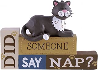 Grey & White Tuxedo Cat Did Someone Say Nap? Resin Stacked Large Block Figurine