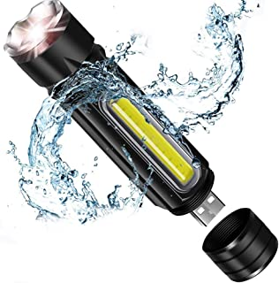 Flashlight,Bright LED Flashlight with COB Light,USB Rechargeable (18650 Battery Included), Zoomable, IP65 Water-Resistant,...