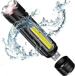 مصباح يدوي LED ساطع مع ضوء COB، قابل لإعادة الشحن عبر USB (تتضمن بطارية 18650)، قابل للتكبير، مقاوم للماء IP65، مصباح LED ...