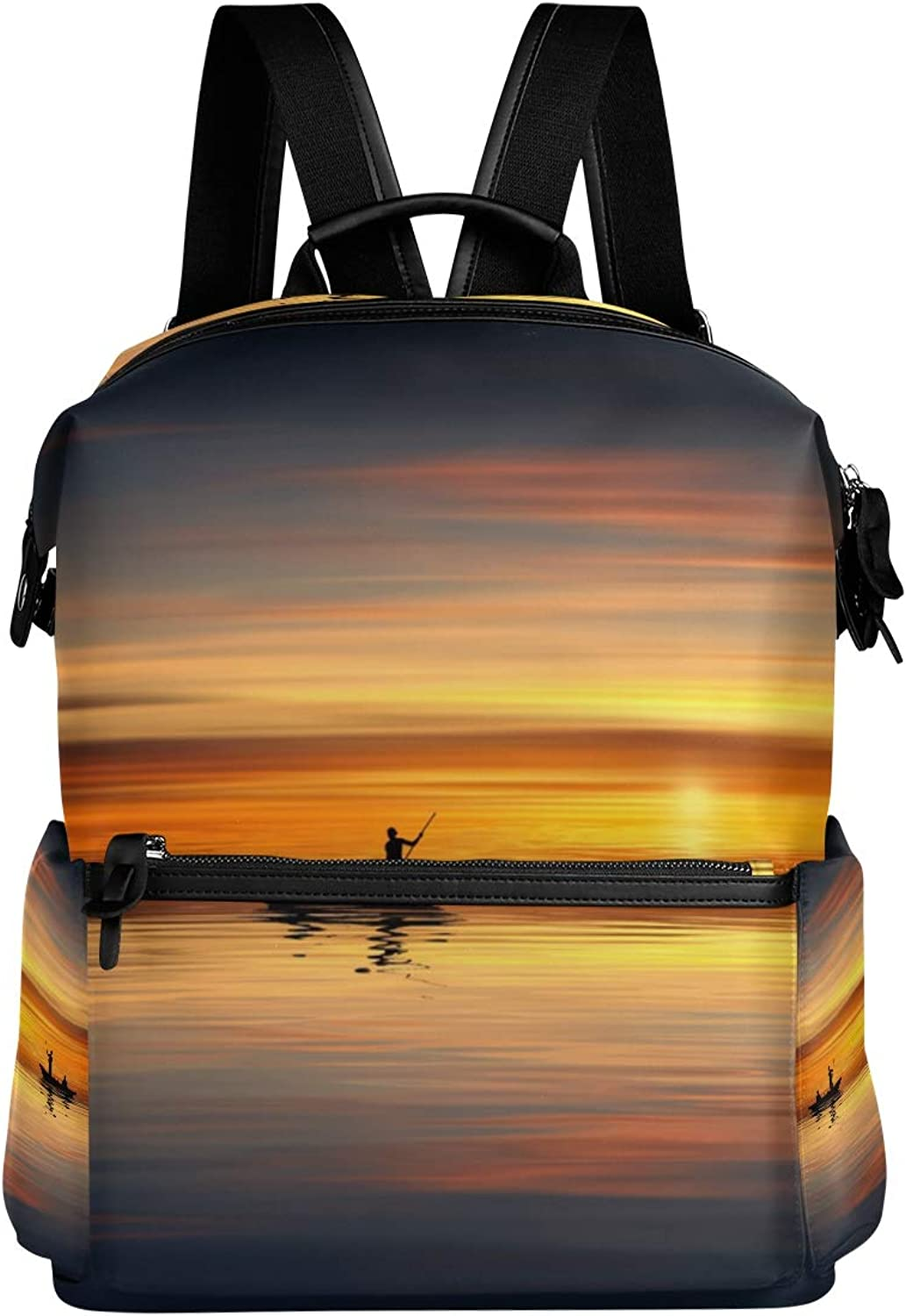 MONTOJ Lonely Boat Sunset Sea Leather Travel Bag Campus Backpack