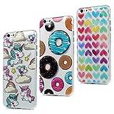 3x Funda iPhone 6S Plus, iPhone 6 Plus Carcasa Silicona Gel Case Ultra Delgado TPU Goma Flexible [Proceso IMD] No se descolora Anti-scrach Cover - Donuts + Corazones + Unicornio