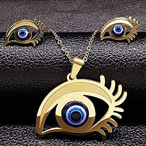 Ahuyongqing Co.,ltd Collar Joyería de Acero Inoxidable Collar de Traje Pendientes Joyería de Mujer Collar de Regalo de joyería de Ojo Azul Grande
