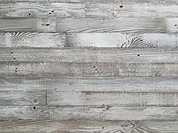 Epic Artifactory Plank and Mill - Reclaimed Barn Wood Wall Panels - Simple Peel and Stick Planks for accent walls kitchens and other projects - 20 square Feet of 3  Wide  Whitewashed Barn Wood