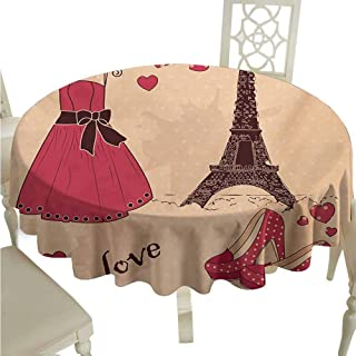 duommhome Heels and Dresses Waterproof Tablecloth Paris Boutique French Retro Dress Shoes Eiffel Tower Easy Care D43 Dark Brown Pink Pale Salmon