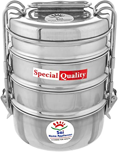Sai Home Appliances Sai Stainless Steel Clipper Stainless Steel Tiffin Box Set 3 Container Silver 1600 ml 7x4