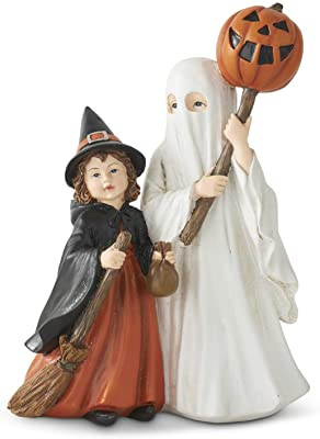 K&K Interiors 41479A 9 Inch Resin Trick or Treat Children, Black and White