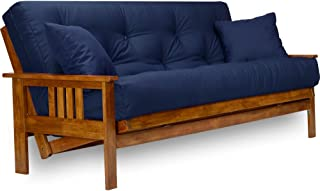Stanford Futon Set - Full Size Futon Frame with Mattress Included (8 Inch Thick Mattress, Twill Navy Blue Color), More Colors Available, Heavy Duty Wood, Popular Sofa Bed Choice