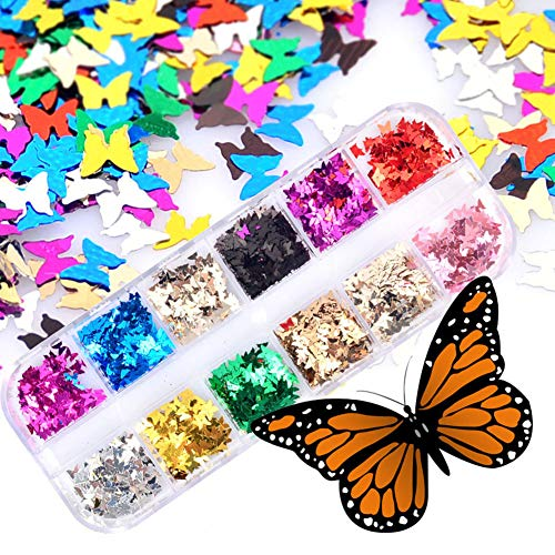 Sukisuki Kerstmis 3D Nagel Art Stickers Stickers, 12 Grids Spiegel Glitter Aluminium folie Vlinder Nagel Manicure Stickers Gems Glitter DIY Make-up Decoratie