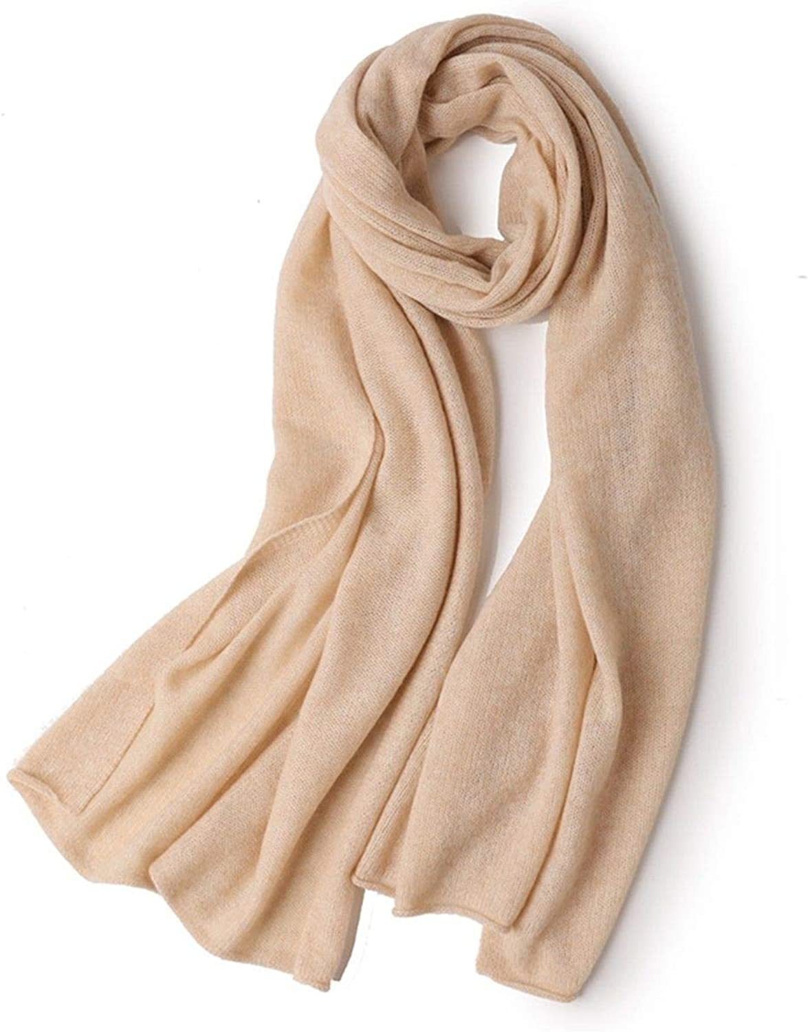 Scarf Knitted Pure Cashmere Women Fashion Solid color Thicken Long Shawl Dualuse, Beige