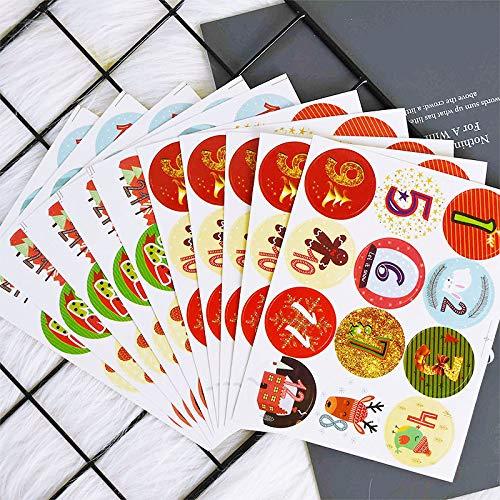 BLOUR 120 Stück Runde Nummer 1-24 Klebstoff Nummer Aufkleber Weihnachten Adventskalender Aufkleber Countdown Cookies Candy Bag Versiegelung Aufkleber