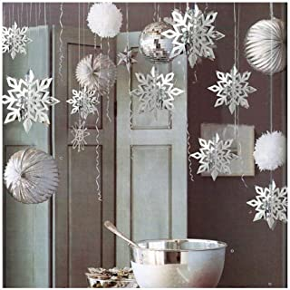ESG Warehouse 6 Pcs Christmas Snowflake Silver Party Decorations 3D White Hanging Garland Hanging