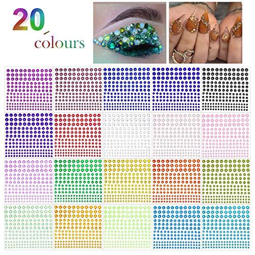 Phogary - Adhesivo de estrás para manualidades, 300 piezas, cristal, en 4 tamaños, 20 colores, para manualidades, cuerpo...