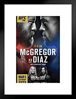 Pyramid America Official UFC 196 Conor McGregor vs Nate Diaz Sports Matted Framed Poster 20x26 inch