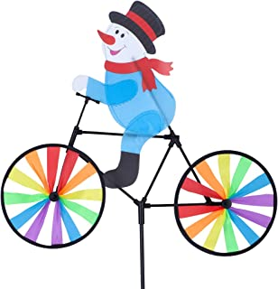 Rama Rose Christmas Bike Spinner, 3D Snowman on Bike Wind Spinner, Colorful Rainbow Wheel Windmill, Double Side Whirligig Pinwheel Garden Yard Outdoor Décor