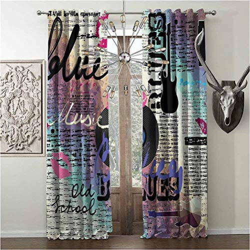 Tapesly Room-Darkening Curtains, Old Newspaper Decor Heat-Insulation, for Bedroom Living Room, W96 x L96 Inch, Multicolor, Blues Music Genre Old Record Electric Guitars Kiss Inscriptions Grunge,