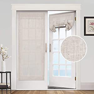 Privacy French Door Curtains- Linen Blended Weave Textured Tricia Tie Up Light Filtering Functional Thermal Insulated Portable Panel Drapes for Home and Office,26 x 68 inches, 1 Panel, Natural