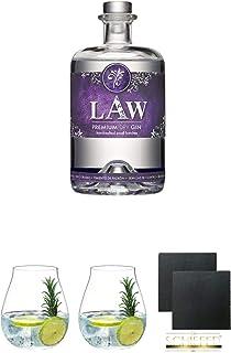 LAW Gin Ibiza 0,7 Liter  Gin Tonic Glas - 5414/67  Gin Tonic Glas - 5414/67  Schiefer Glasuntersetzer eckig ca. 9,5 cm Durchmesser 2 Stück