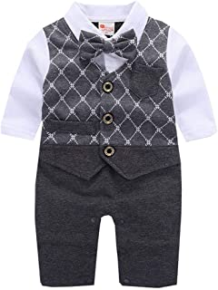 Mornyray Baby Boys Formal Tuxedo Romper Jumpsuit Toddler Wedding Party Suit