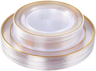 Gold Plastic Plates 60 Pieces, Disposable Wedding Plates, Crystal Plastic Party Plates Includes: 30 Dinner Plates 10.25 Inch and 30 Salad/Dessert Plates 7.5 Inch