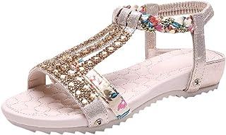 06bc637ed2930 Women s Solid Buckled T-Strap Thin Heeled Sandals Rhinestone Ladies Flat  Bohemia Beach Shoes Roman