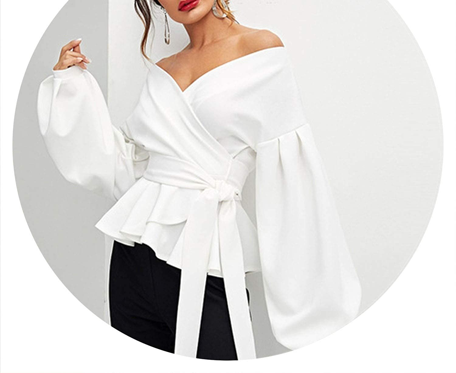 Brave pinkmary White Office Lady Elegant Lantern Sleeve Surplice Peplum Off The Shoulder Solid Tops and Blouses