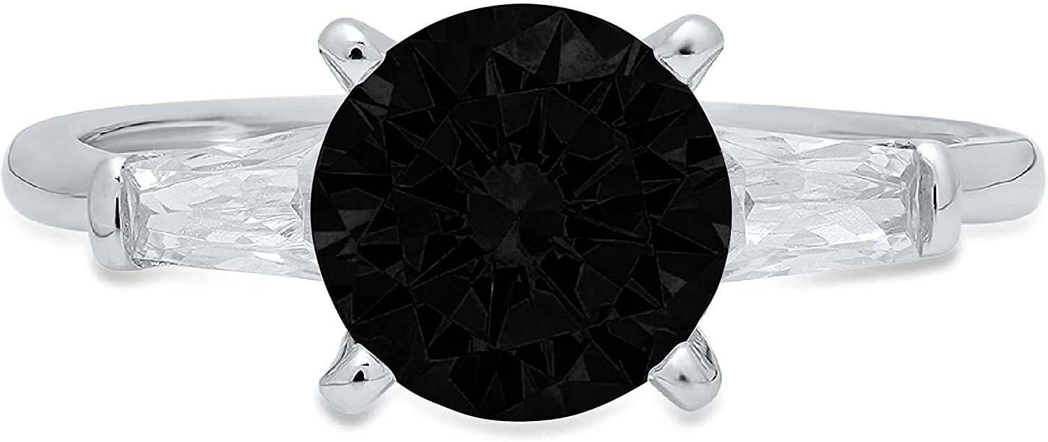 2.0 ct Round Baguette A surprise price is realized half Cut 3 Nat Solitaire stone Flawless Genuine
