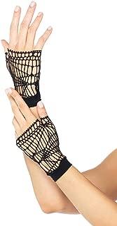 Women's Distressed Net Fingerless Gloves