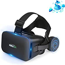 VR Headset Compatible with iPhone and Android Phones - Universal 3D Virtual Reality Goggles - Adjustable VR Glasses Set fo...