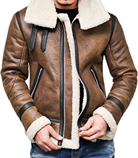 Carmonoudi Mens Stand Collar Motorcycle Leather Jacket