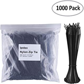 Nylon Zip Ties (Pack of 1000pcs) 8 Inch with Self Locking Cable Ties (Black)