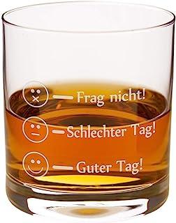 Leonardo Whiskyglas - Frag Nicht - Guter Tag Lustiges Whisky Glas - Whiskey Rum Markenglas mit Smiley Gravur je nach Stimmung für Vatertag, Papa Sohn Geschenk