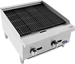 CookRite ATCB-24 Lava Rock Charbroiler Grill Char-Rock Broiler Natural Gas Stainless Steel- 70,000 BTU