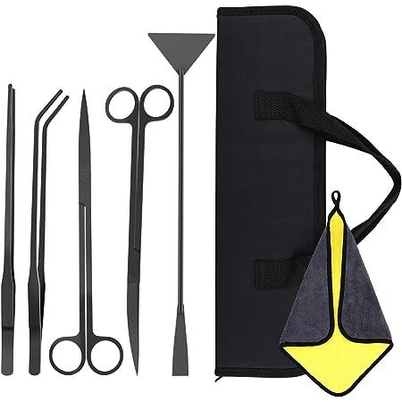VavoPaw Aquarium Scissor Tools Kit, 5 in 1 Anti-Rust Tool Stainless Steel Tweezers Scissor Aquatic Plants Cleaning Tool for Aquariums & Fish Tank