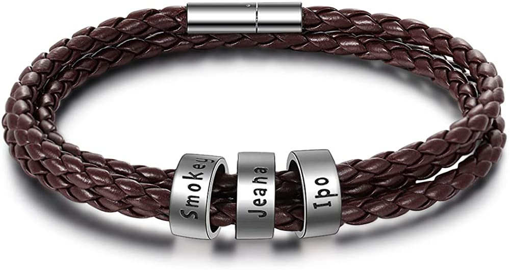 Personalized Men's Leather Bracelet with Small High quality new Beads Beauty products Custom Name