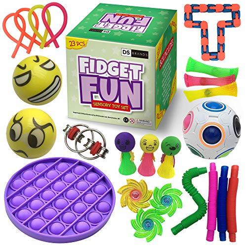 DS Brands Sensory Fidget Toy Set - 23-Piece Fidget Box Set including Pop It...