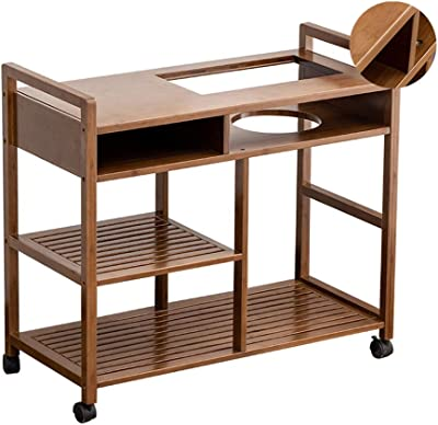 Tea Cart Three-Tier Tea Rack Movable Side Table Boiling Water Table Living Room Shelf Tables (Color : Brown, Size : 46 * 46 * 66cm)