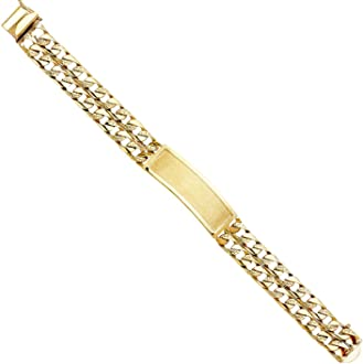 Wellingsale 14k Two 2 Tone White and Yellow Gold Polished Stampato Oval ID Bracelet 6