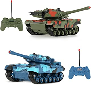 Set of 2 RC Military Tank 1/24 Scale Infrared Remote Control Battle Tanks w/ Lights & Realistic Sounds , Fully Rotational