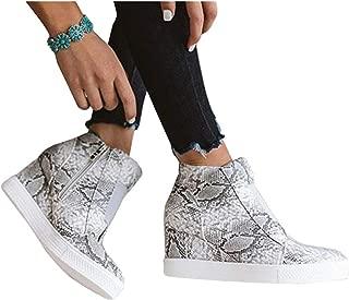 PiePieBuy Womens Sneakers Slip On Wedge Platform Hidden High Top Casual Ankle Boots
