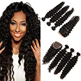 Brazilian Curly Hair Extension with Closure 3 Bundles of Jerry Curly Human Hair Weave on Sale Prime 20 22 24 +18 Inch