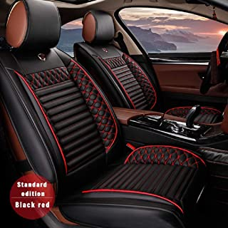 Surekit Custom Car Seat Cover for Jeep Grand Cherokee Wrangler Commander Cherokee Compass Renegade 5-Seat Car Seat Cushion Cover Full Set Needlework PU Leather Seat Pad Protector (Black & red)