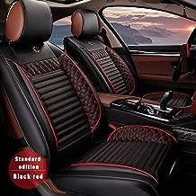 Custom Car Seat Cover For Toyota RAV4 Alphard 4Runner Hilux Highlander Harrier Corolla Camry Cruiser Reiz 5-Seat Car Seat Cushion Cover Full Set Needlework PU Leather Seat Pad Protector (black & red)