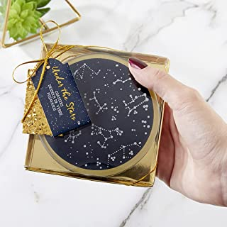 Kate Aspen Under The Stars Glass Coasters, Navy/Gold/White