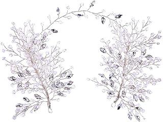 Amosfun - Fascia per capelli da sposa con strass, accessorio per capelli da sposa