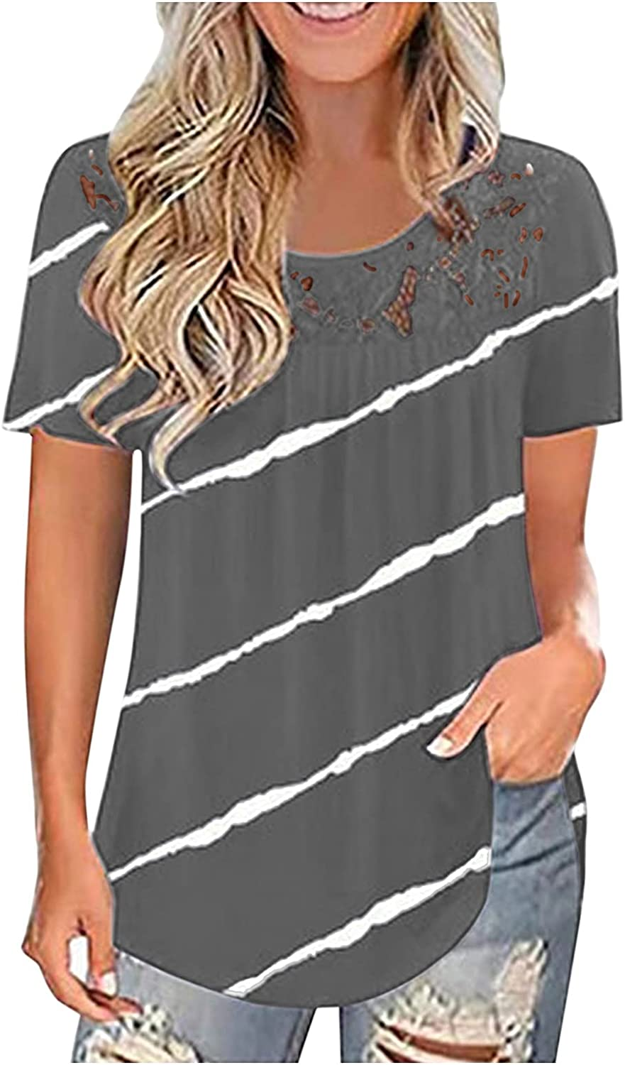 AODONG Short Sleeve Tops for Women, Women's Summer Tops Plus Size Lace Pleated Shirts Casual Loose Tunic Tops Blouses