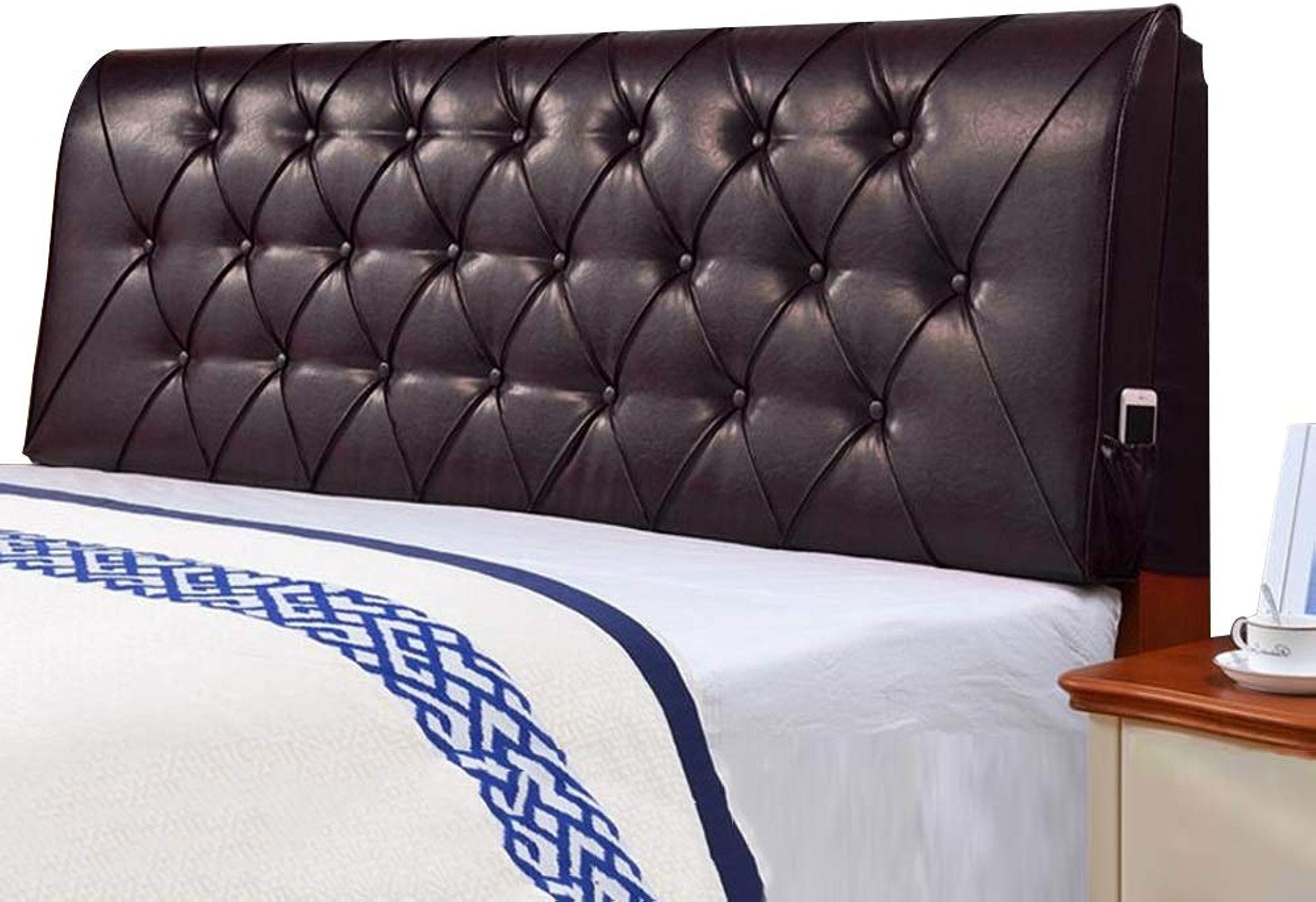 LIANGLIANG Coussin De Chevet Double Extra grand Dossier Lavable Appui-tête De Lit Confortable étui Souple Haute Qualité PU, 5 Couleurs, 12 Tailles (Couleur   NOIR, taille   150x60x10cm)