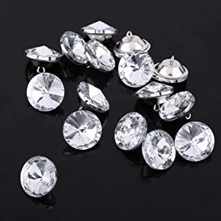 30 Pcs Crystal Upholstery Buttons with Metal Loop Button for DIY Tufted Upholstered Headboard Ottoman Sofa,20 mm