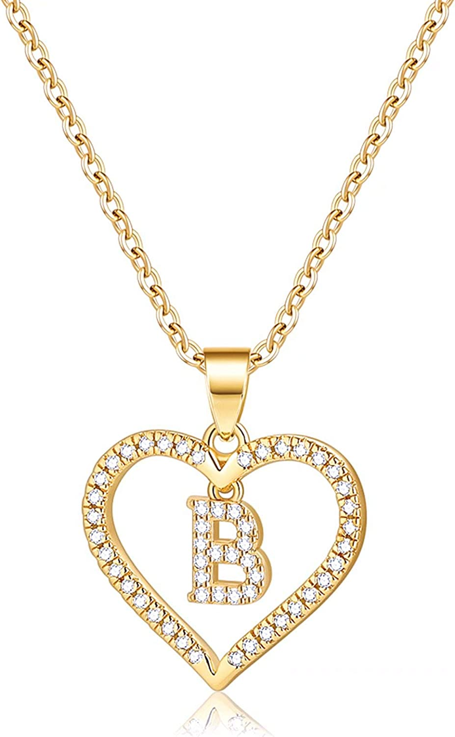 IEFSHINY Initials Letter Necklace for Women Girls, 14k Gold Filled Initial Letter Plated Charm Necklaces CZ Pendant Love Heart Alphabet Necklace for Women Teen Girls