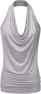 8973a332d3976 Doublju Womens Sleeveless Sexy Halter Drape Cowl Neck Top with Plus Size
