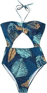 レディース タンキニ OD企画 レディース水着 葉プリント水着ビーチウェアワンピース 体型カバー かわいい花柄 体型が目立たないスカートタイプのおしゃれなデザイン ショートパンツ付 大きいサイズ スタイルアップ 温泉 海水浴